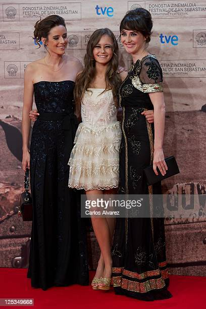 Actresses Pilar Lopez de Ayala Ella Purnell and Carice Van Houten attend 'Intruders' premiere at the Kursaal Palace during the 59th San Sebastian...