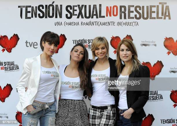 Actresses Pilar Rubio Amaia Salamanca Norma Ruiz and Salome Jimenez attend 'Tension Sexual No Resuelta' photocall at Princesa Cinema on March 17 2010...