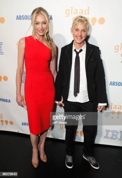 Actresses Portia de Rossi and Ellen DeGeneres backstage at the 20th Annual GLAAD Media Awards held at NOKIA Theatre LA LIVE on April 18, 2009 in Los...