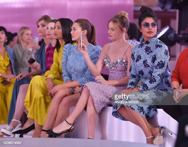 Actresses Priyanka Chopra Kate Bosworth and Elizabeth Olsen attend the Kate Spade fashion show during New York Fashion Week at New York Public...