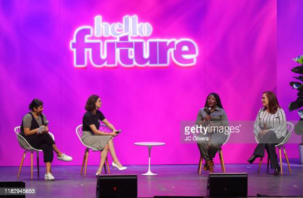 Actresses Punam Matel Francesca Reale Cori Bush and Amy Vilela seen onstage during the LA Promise Fund's Hello Future Summit at Microsoft Theater on...