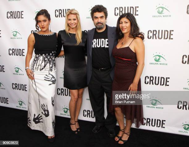 Actresses Q'Orianka Kilcher and Sonia Rockwell director Joe Berlinger and 'Amazon Watch' director Atossa Soltani arrive for the screening of the film...