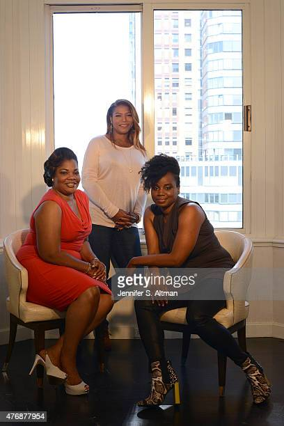 Actresses Queen Latifah and Mo'Nique with director Dee Rees are photographed for Los Angeles Times on April 30 2015 in New York City
