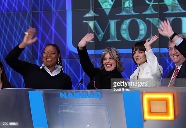 Actresses Queen Latifah Diane Keaton Katie Holmes and NASDAQ Executive Vice president John Jacobs ring the NASDAQ stock market opening bell on...