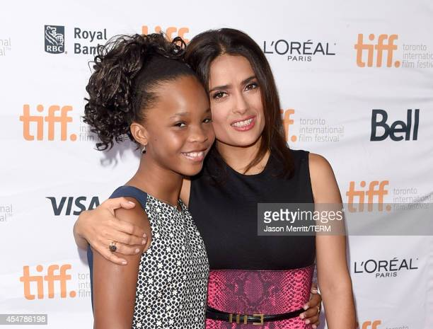 Actresses Quvenzhané Wallis and Salma Hayek attend the Kahlil Gibran's The Prophet premiere during the 2014 Toronto International Film Festival at...