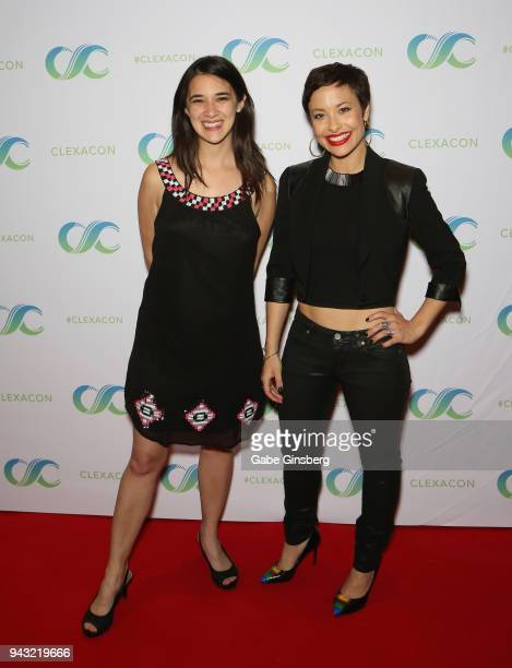 Actresses Rachael HipFlores and Nicole Pacent attend the Cocktails for Change fundraiser hosted by ClexaCon to benefit Cyndi Lauper's True Colors...