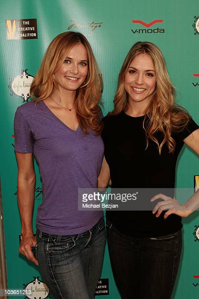 Actresses Rachel Blanchard and Brooke Nevin at the BandAid booth during Kari Feinstein Primetime Emmy Awards Style Lounge Day 1 held at Montage...