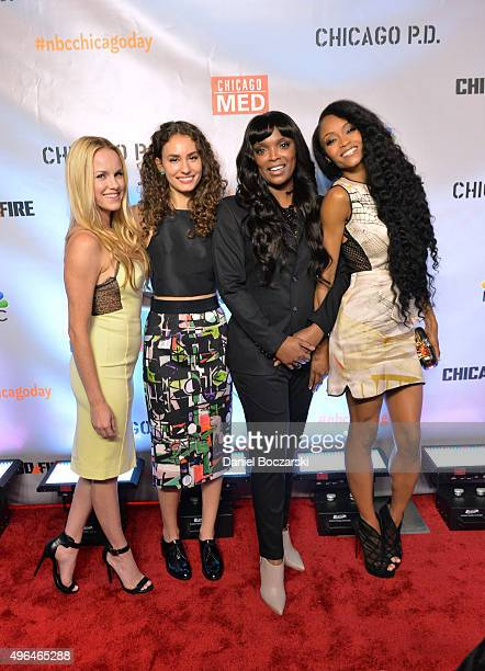 Actresses Rachel DiPillo Julie Marie Berman Marlyne Barrett and Yaya DaCosta attend a premiere party for NBC's 'Chicago Fire' 'Chicago PD' and...