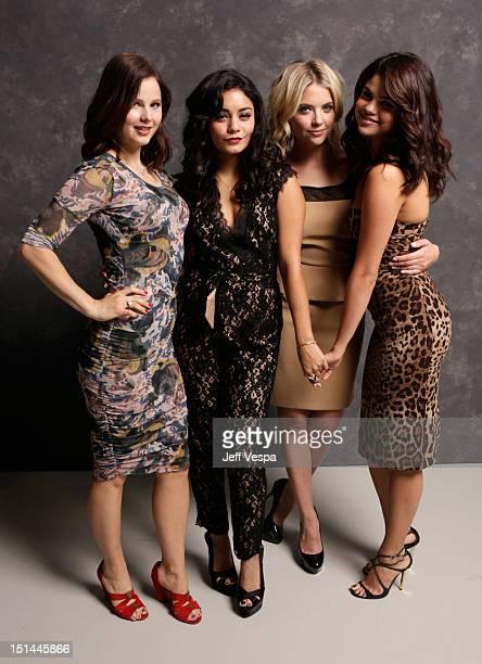 Actresses Rachel Korine Vanessa Hudgens Ashley Benson and Selena Gomez of Spring Breakers poses at the Guess Portrait Studio during 2012 Toronto...