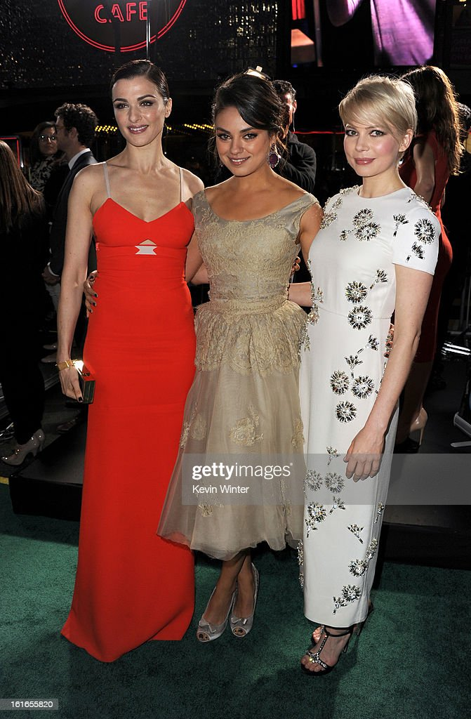 Actresses Rachel Weisz, Mila Kunis and Michelle Williams attend the world premiere of Walt Disney Pictures' 'Oz The Great And Powerful' at the El Capitan Theatre on February 13, 2013 in Hollywood, California.