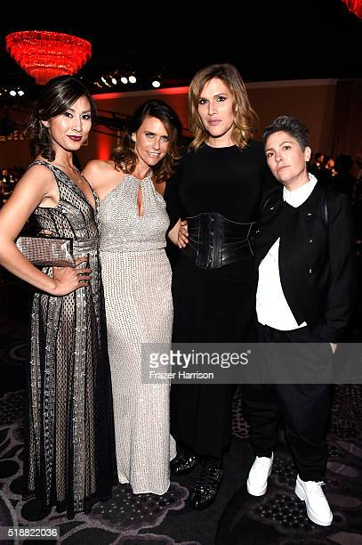 Actresses Rain Valdez and Amy Landecker, writer Our Lady J, and writer/executive producer Jill Soloway attend the 27th Annual GLAAD Media Awards at...