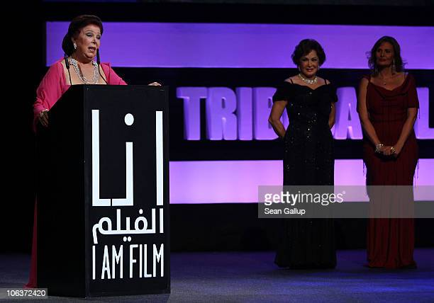 Actresses Raja Al Jiddawi Lubluba and Yosra onstage at the Awards Show and Closing Night Red Carpet and Screening of 'The First Grader' during the...