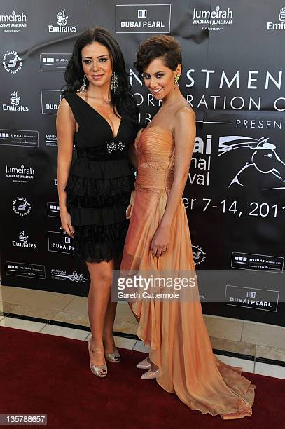 Actresses Rania Yucef and Yasmine Raees attend the Awards Ceremony during day eight of the 8th Annual Dubai International Film Festival held at the...