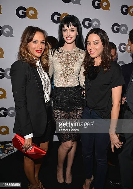Actresses Rashida Jones, Krysten Ritter and Aubrey Plaza arrive at the GQ Men of the Year Party at Chateau Marmont on November 13, 2012 in Los...