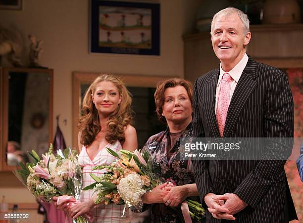 Actresses Rebecca Gayheart Marsha Mason and writer Robert Harling take a bow for the opening night of Steel Magnolias at the Lyceum Theatre on April...
