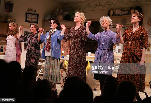 Actresses Rebecca Gayheart Marsha Mason Delta Burke Christine Ebersole Frances Sternhagen and Lily Rabe take a bow at the opening night of Steel...