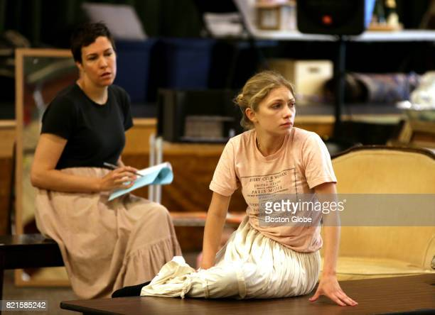 """Actresses Rebecca Henderson, left, and Tavi Gevinson rehearse for the play Moscow Moscow Moscow Moscow Moscow Moscow"""" in Williamstown, MA on Jul. 15,..."""