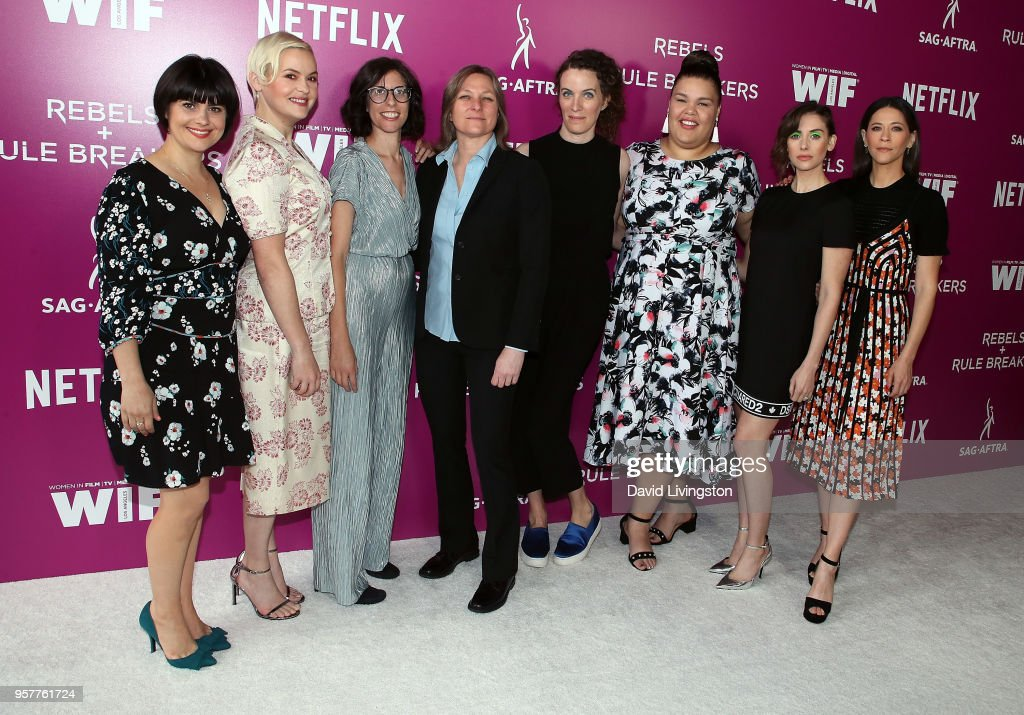 Actresses Rebekka Johnson, Kimmy Gatewood, executive producer Carly Mensch, VP, Content Acquisition / Original Series for Netflix Cindy Holland, executive producer Liz Flahive and actresses Britney Young, Alison Brie and Jackie Tohn attend Netflix - Rebels and Rules Breakers For Your Consideration event at Netflix FYSee Space on May 12, 2018 in Los Angeles, California.