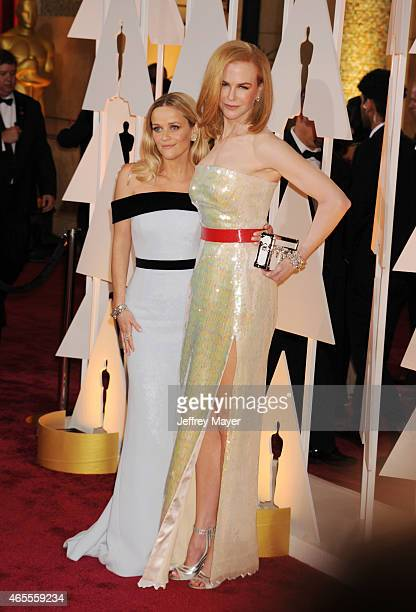 Actresses Reese Witherspoon and Nicole Kidman arrive at the 87th Annual Academy Awards at Hollywood Highland Center on February 22 2015 in Hollywood...