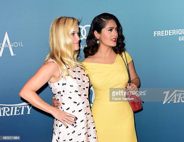 Actresses Reese Witherspoon and Salma Hayek Pinault attend Variety's Power Of Women Luncheon at the Beverly Wilshire Four Seasons Hotel on October 9...