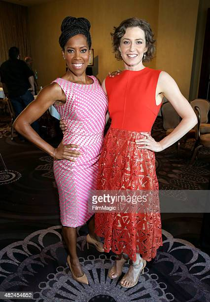 Actresses Regina King and Carrie Coon attend the HBO portion of the 2015 Summer TCA Tour at The Beverly Hilton Hotel on July 30 2015 in Beverly Hills...
