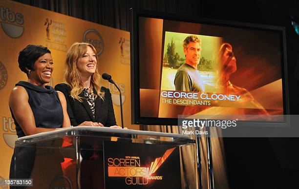 Actresses Regina King and Judy Greer speak onstage during The 18th Annual Screen Actors Guild Awards Nominations Announcement at the Pacific Design...