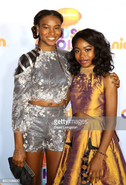 Actresses Reiya Downs and Riele Downs attend Nickelodeon's 2017 Kids' Choice Awards at USC Galen Center on March 11 2017 in Los Angeles California