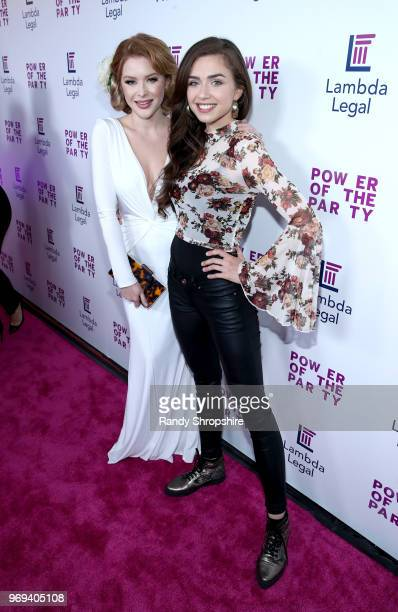 Actresses Renee Olstead and Victoria Konefal attend the Lambda Legal 2018 West Coast Liberty Awards at the SLS Hotel on June 7 2018 in Beverly Hills...