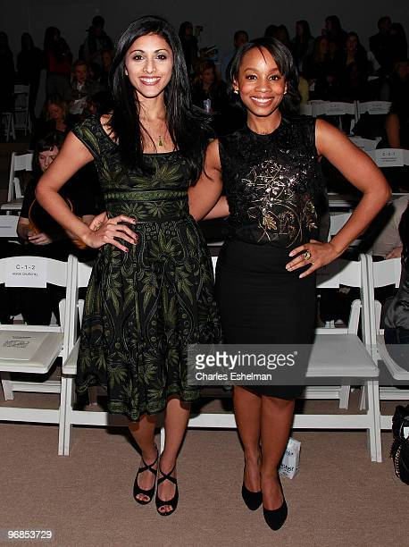Actresses Reshma Shetty and Anika Noni Rose attend the Naeem Khan Fall 2010 fashion show during Mercedes-Benz Fashion Week at Bryant Park on February...