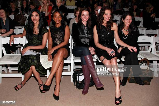 Actresses Reshma Shetty, Anika Noni Rose, Janie Bryant, Brooke Shields and Vanity Fair Market Director Mary F. Braeunig attend the Naeem Khan Fall...