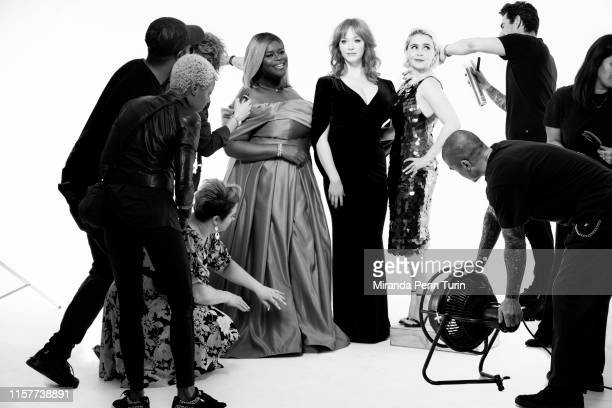 Actresses Retta Christina Hendricks and Mae Whitman are photographed for Emmy Magazine on March 15 2019 in Los Angeles California