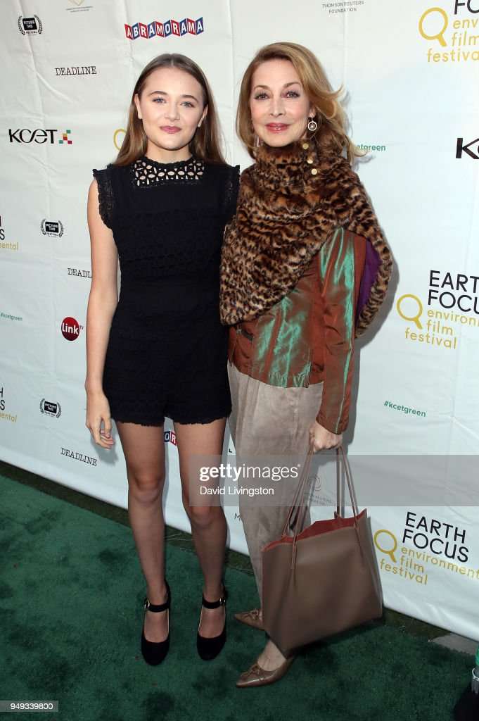 Actresses Reylynn Caster (L) and Sharon Lawrence attend the opening night of KCET & Link TV's EARTH FOCUS Environmental Film Festival screening of 'Love & Bananas - An Elephant Story' at Sony Pictures Studios on April 20, 2018 in Culver City, California.