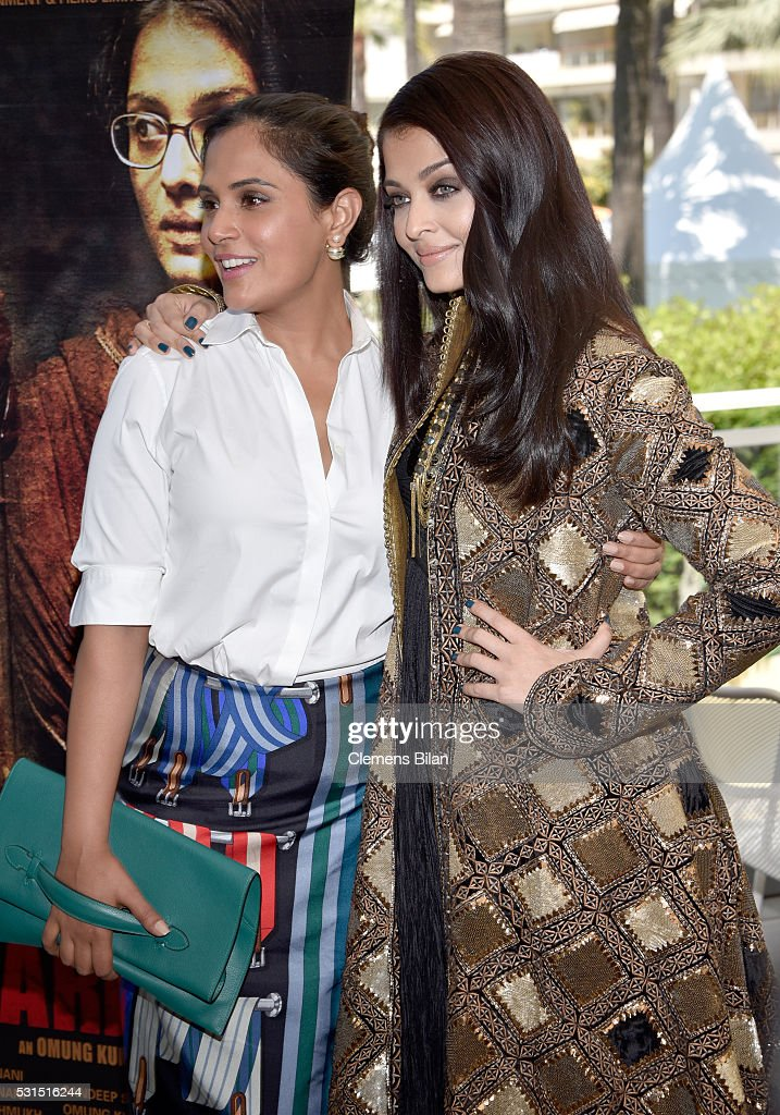 Actresses Richa Chadha and Aishwarya Rai attend 'Sarbjit' Photocall during The 69th Annual Cannes Film Festival at the Palais des Festivals on