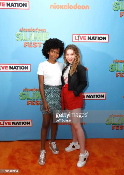 Actresses Riele Downs and Ella Anderson attend Nickelodeon SlimeFest at Huntington Bank Pavilion at Northerly Island on June 9 2018 in Chicago...
