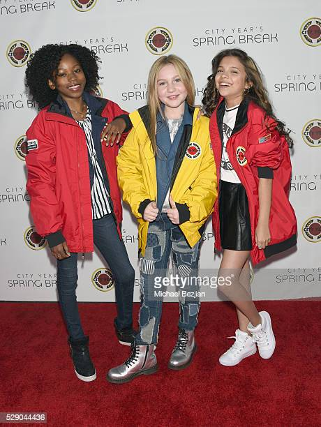 Actresses Riele Downs Ella Anderson and Cree Cicchino attend City Year Los Angeles Spring Break Event at Sony Studios on May 7 2016 in Los Angeles...
