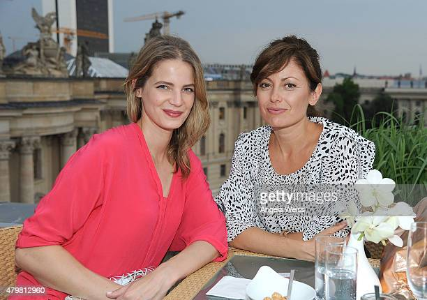 Actresses Rike Schmid and Carolina Vera attend the Marc Cain after show cocktail during the MercedesBenz Fashion Week Berlin Spring/Summer 2016 at...