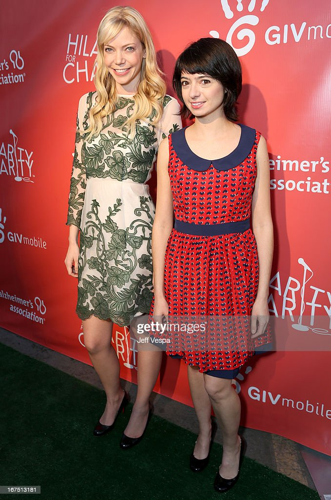 Actresses Riki Lindhome (L) and Kate Micucci attend the Second Annual Hilarity For Charity benefiting The Alzheimer's Association at the Avalon on April 25, 2013 in Hollywood, California.