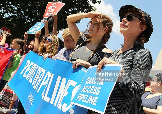 Actresses Riley Keough and Susan Sarandon participate in a rally in support of a lawsuit against The Army Corps of Engineers to protect water and...
