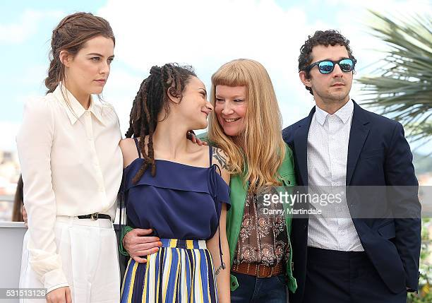 Actresses Riley Keough Sasha Lane director Andrea Arnold and actor Shia LaBeouf attends the 'American Honey' photocall during the 69th annual Cannes...