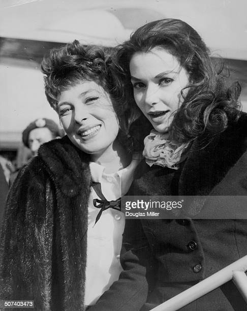Actresses Rita Gam and Susan Strasberg members if the New York City Centre Theatre Company arriving at London Airport to appear on British television...