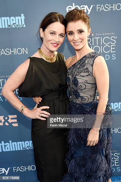 Actresses Robin Tunney and Shiri Appleby attend The 22nd Annual Critics' Choice Awards at Barker Hangar on December 11 2016 in Santa Monica California