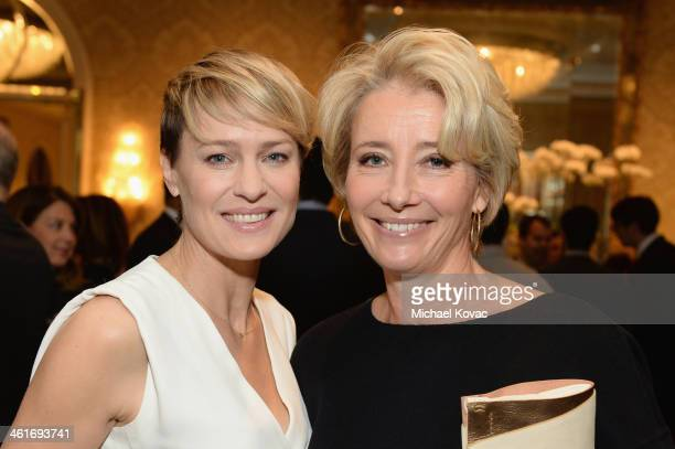 Actresses Robin Wright and Emma Thompson attend the 14th annual AFI Awards Luncheon at the Four Seasons Hotel Beverly Hills on January 10 2014 in...