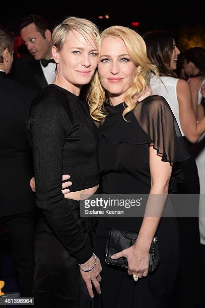 Actresses Robin Wright and Gillian Anderson attend the 2015 InStyle And Warner Bros 72nd Annual Golden Globe Awards PostParty at The Beverly Hilton...