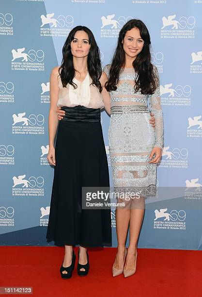 """Actresses Romina Mondello and Olga Kurylenko attend """"To The Wonder"""" Photocall during the 69th Venice Film Festival at the Palazzo del Casino on..."""