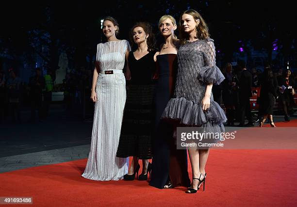 Actresses Romola Garai Helena Bonham Carter Anne Marie Duff and Carey Mulligan attend the Suffragette premiere at the Opening Night Gala during the...