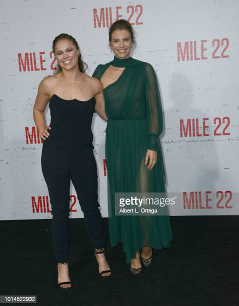 Actresses Ronda Rousey and Lauren Cohan arrive for the Premiere Of STX Films' 'Mile 22' held at Westwood Village Theatre on August 9 2018 in Westwood...