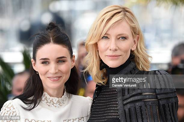 Actresses Rooney Mara and Cate Blanchett attend the Carol Photocall during the 68th annual Cannes Film Festival on May 17 2015 in Cannes France