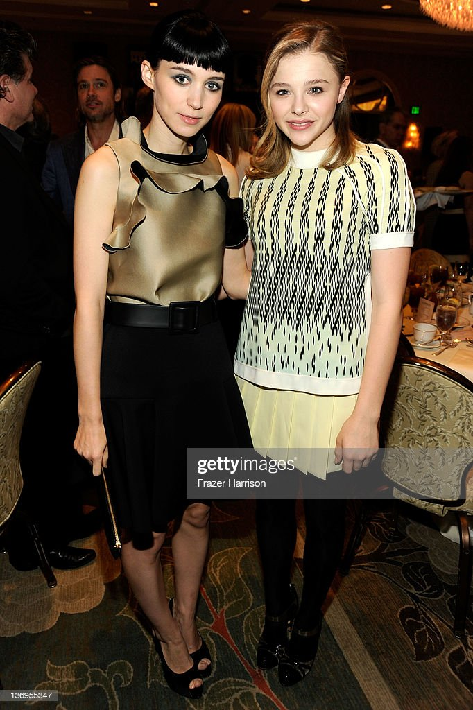 Actresses Rooney Mara (L) and Chloe Grace Moretz attend the 12th Annual AFI Awards held at the Four Seasons Hotel Los Angeles at Beverly Hills on January 13, 2012 in Beverly Hills, California.