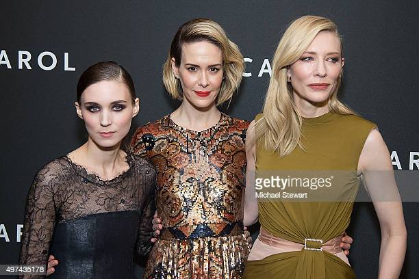 Actresses Rooney Mara Sarah Paulson and Cate Blanchett attend the Carol New York premiere at Museum of Modern Art on November 16 2015 in New York City