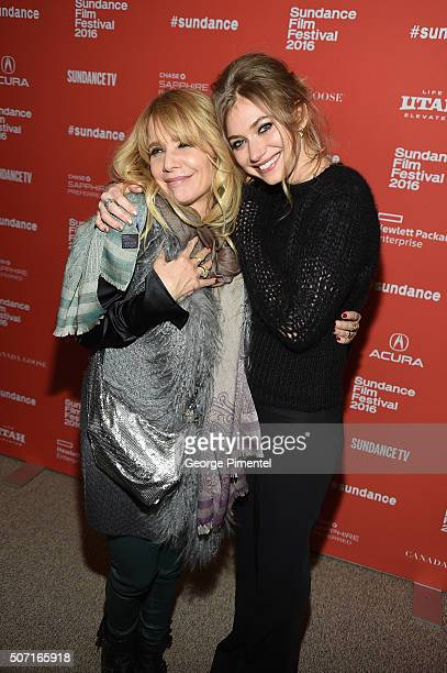 Actresses Rosanna Arquette and Imogen Poots attend the 'Frank Lola' premiere during the 2016 Sundance Film Festival at Eccles Center Theatre on...